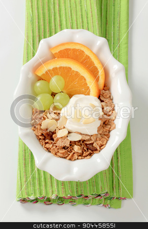 Breakfast cereal with fruit and quark stock photo, Bowl of breakfast cereals with fresh fruit and quark by Digifoodstock