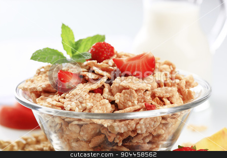 Breakfast cereal stock photo, Bowl of breakfast cereal and fresh strawberries by Digifoodstock