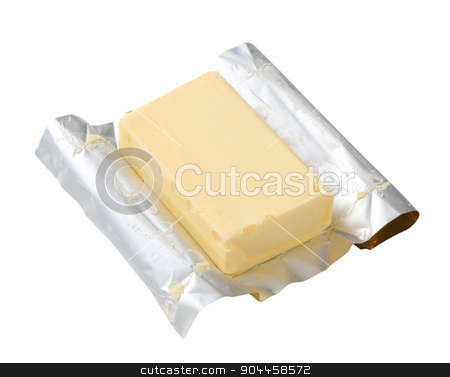 Block of fresh butter  stock photo, Block of fresh butter - isolated on white by Digifoodstock