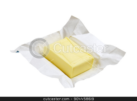 Fresh butter stock photo, Block of fresh butter - isolated on white by Digifoodstock