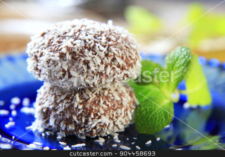 Coconut confections stock photo, Chocolate coconut confections filled with cream by Digifoodstock
