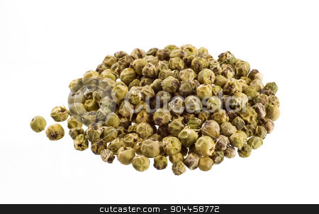 Green peppercorns  stock photo, Heap of green peppercorns on white background by Digifoodstock
