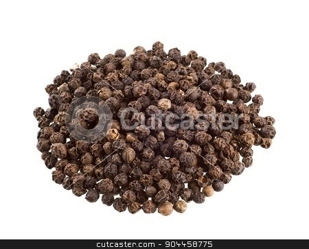 Black peppercorns   stock photo, Heap of black peppercorns  isolated on white by Digifoodstock