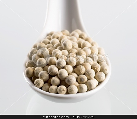 White peppercorns  stock photo, White peppercorns on a porcelain spoon by Digifoodstock