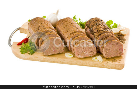 Meat loaves stock photo, Three meatloaves on a cutting board by Digifoodstock