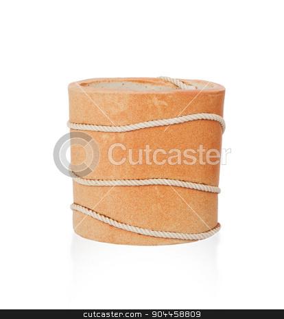 Orange vase isolated on white stock photo, Orange vase isolated on white, pottery with rope by michaklootwijk