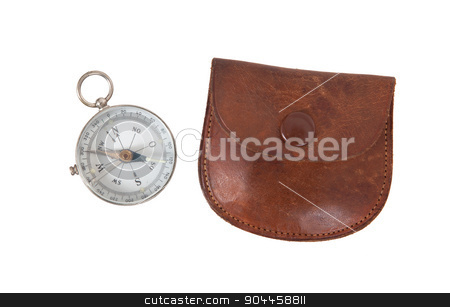 Old compass with etui stock photo, Old compass with etui, isolated on white by michaklootwijk