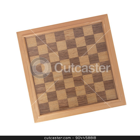 Empty wood chessboard stock photo, Empty wood chessboard isolated on a white background by michaklootwijk