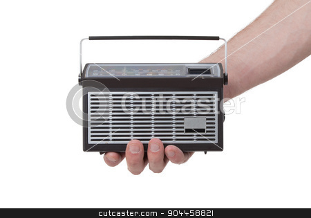 Small pocketradio stock photo, Small pocketradio, isolated on a white background by michaklootwijk