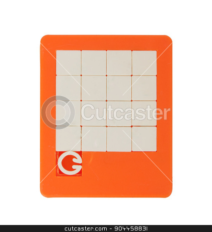 Old puzzle slide game stock photo, Old puzzle slide game, isolated on white by michaklootwijk