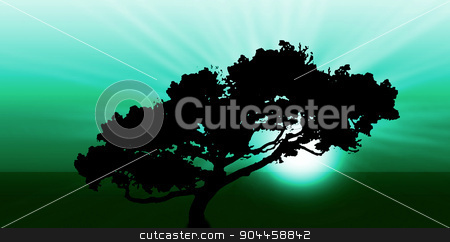 Exotic sunrise or sunset stock photo, Exotic sunrise or sunset - Silhouette of a large tree by michaklootwijk