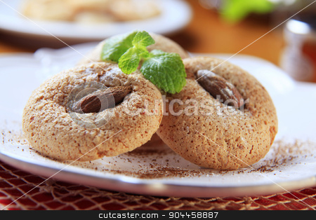 Almond macaroons stock photo, Crispy almond macaroons on a plate - detail by Digifoodstock