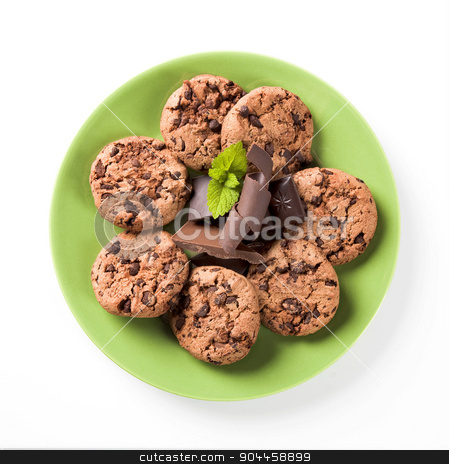 Chocolate chip cookies   stock photo, Chocolate chip cookies on a green plate - overhead by Digifoodstock