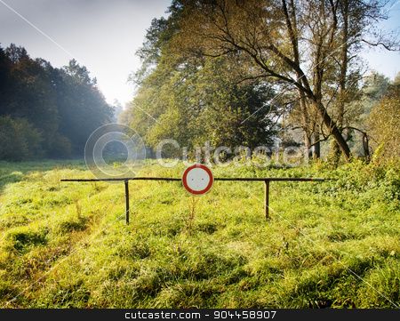 """No vehicles sign in the country stock photo, Barrier with """"no vehicles"""" sign in the country by Digifoodstock"""