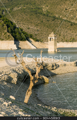 Embalse de Mediano Reservoir near Ainsa,Spain stock photo, Church tower of the submerged village of Mediano, Ainsa, Spain by Digifoodstock