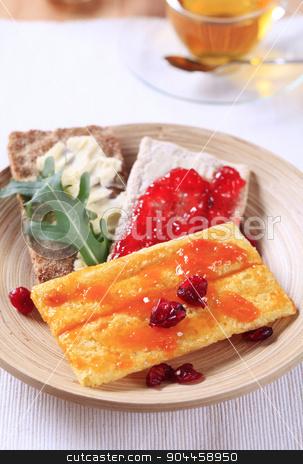 Crispbread and jam stock photo, Various types of crispbread and jam - closeup by Digifoodstock