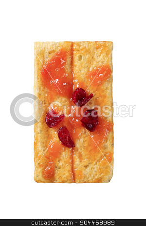 Crispbread and jam stock photo, Crispbread and jam topped with dried cranberries by Digifoodstock
