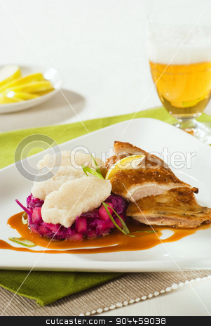 Roast Duck, Red Cabbage and Dumplings stock photo, Crispy Roast Duck, Red Cabbage and Dumplings by Digifoodstock