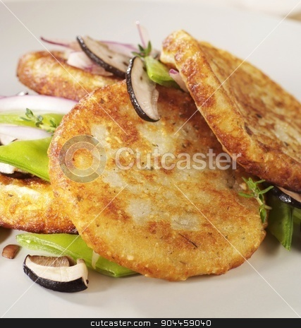 Potato pancakes stock photo, Potato pancakes  with mushrooms and vegetables by Digifoodstock