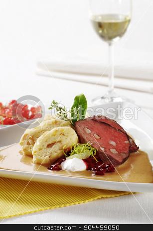Sirloin of beef with cream sauce and dumplings stock photo, Sirloin of beef with cream sauce and bread dumplings  by Digifoodstock