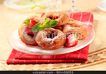 Ring-shaped donuts stock photo, Deep-fried ring-shaped donuts by Digifoodstock