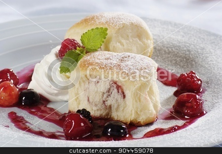 Sweet Yeast Buns  stock photo, Sweet Yeast Buns filled with fruit preserve by Digifoodstock
