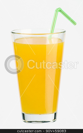 Glass of juice stock photo, Glass of juice and a drinking straw  by Digifoodstock