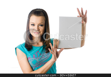 Girl wth blank sheet stock photo, Young woman showing blank sheet of paper at isolated background by Aikon