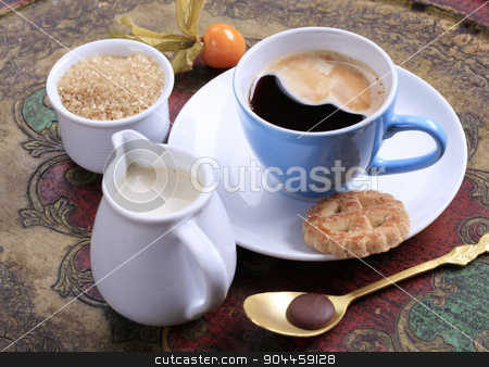 Coffee time stock photo, Cup of coffee, jug of cream and bowl of brown sugar by Digifoodstock