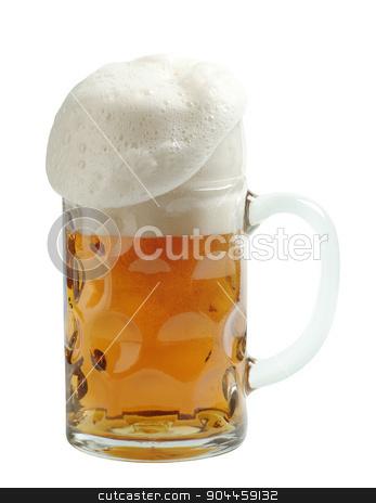 Mug of beer  stock photo, Freshly poured mug of beer with overflowing foam by Digifoodstock
