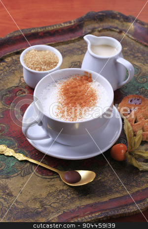 Hot milk with nutmeg  stock photo, Cup of hot milk with nutmeg and  brown sugar by Digifoodstock