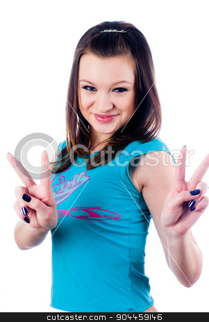 Pretty girl with victory sign stock photo, Young attractive woman showing victory sign isolated on white by Aikon