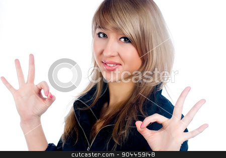 Pretty woman with ok gesture stock photo, Attractive woman showing ok sign over white background by Aikon
