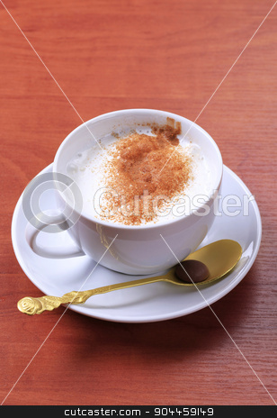 Milk steamer drink stock photo, Vanilla steamer with a dusting of nutmeg or cinnamon by Digifoodstock