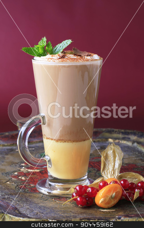 Liqueur coffee  stock photo, Coffee drink with a shot of eggnog by Digifoodstock