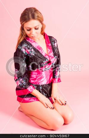 beautiful woman in japanese kimono stock photo, Young attractive woman in japanese kimono on pink background by Aikon