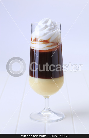 Liqueur coffee  stock photo, Glass of liqueur coffee with whipped cream  by Digifoodstock