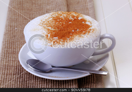 Cup of cappuccino stock photo, Cup of cappuccino with rich milk froth and nutmeg on top by Digifoodstock