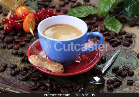Cup of coffee stock photo, Cup of coffee and biscuit - still life by Digifoodstock