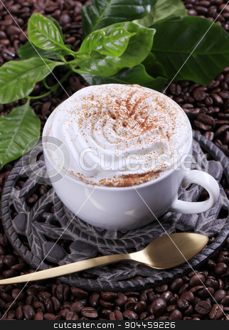 Cup of Vienna coffee stock photo, Cup of coffee with cream and nutmeg by Digifoodstock