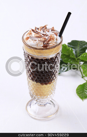 Liqueur coffee  stock photo, Liqueur coffee with whipped cream  by Digifoodstock