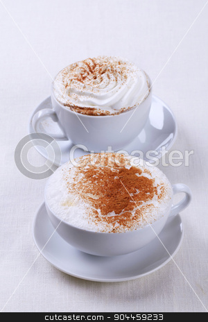 Coffee drinks stock photo, Cups of cappuccino and Vienna coffee by Digifoodstock