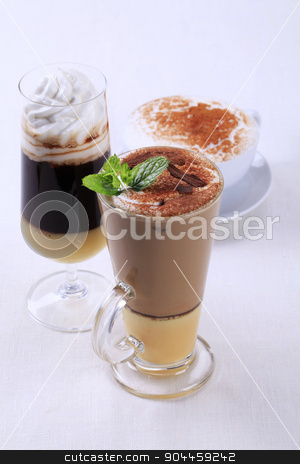 Coffee drinks stock photo, Coffee and chocolate drinks - still life by Digifoodstock