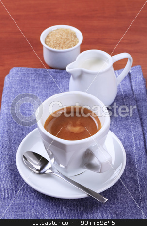 Cup of coffee stock photo, Cup of coffee, jug of milk and brown sugar by Digifoodstock