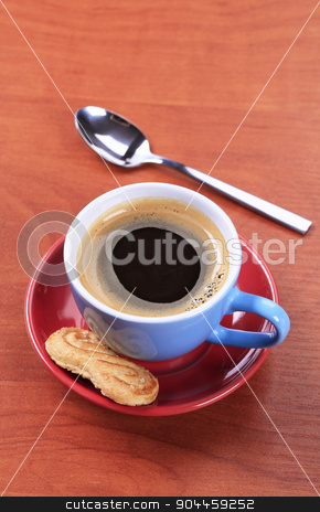 Cup of coffee stock photo, Cup of black coffee and biscuit by Digifoodstock