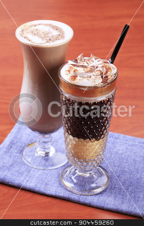 Coffee drinks stock photo, Coffee and chocolate drinks in tall glasses by Digifoodstock