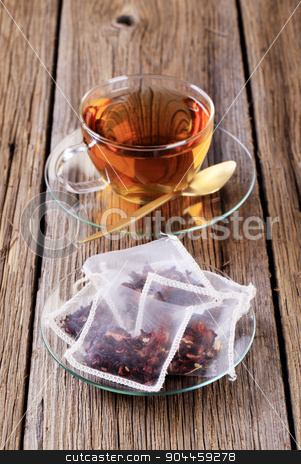 Cup of tea stock photo, Cup of tea and nylon tea bags  by Digifoodstock