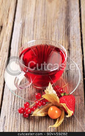 Fruit tea  stock photo, Fruit tea in a glass cup - closeup by Digifoodstock