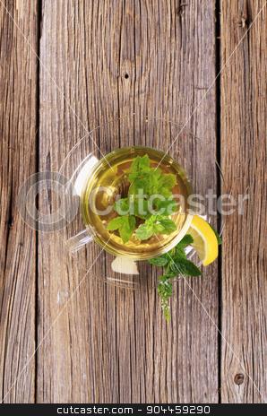 Mint tea stock photo, Mint tea made of fresh mint leaves by Digifoodstock