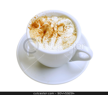 Coffee with cream stock photo, Cup of coffee with whipped cream and nutmeg by Digifoodstock